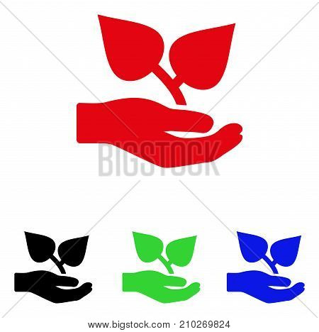 Flora Care Hand icon. Vector illustration style is a flat iconic flora care hand symbol with black, red, green, blue color versions. Designed for web and software interfaces.