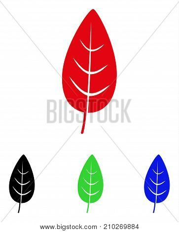 Flora Leaf icon. Vector illustration style is a flat iconic flora leaf symbol with black, red, green, blue color versions. Designed for web and software interfaces.