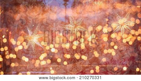 Conceptual image Christmas lights. Background of blurry Christmas lights out of focus. Texture for decoration and graphic design for Christmas.