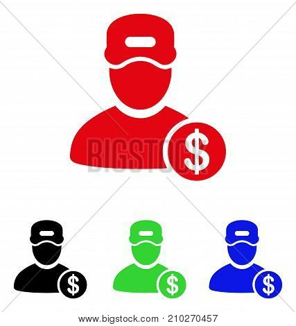 Guy Salary icon. Vector illustration style is a flat iconic guy salary symbol with black, red, green, blue color versions. Designed for web and software interfaces.
