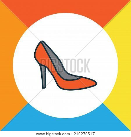 Premium Quality Isolated Heels Element In Trendy Style.  Shoe Colorful Outline Symbol.