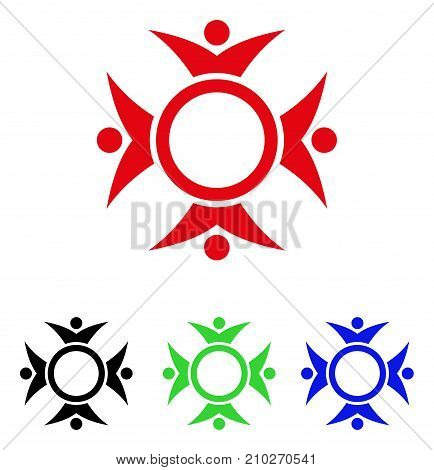Human Collaboration icon. Vector illustration style is a flat iconic human collaboration symbol with black, red, green, blue color versions. Designed for web and software interfaces.