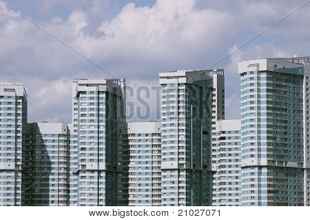 Blue And White Multifamily Housing