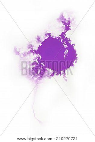 Watercolor Violet color splash on white background