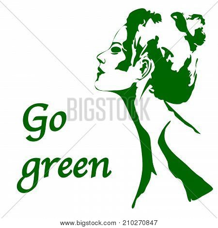 Portrait of beautiful girl a woman in profile isolated outline silhouette - vector illustration. Go green