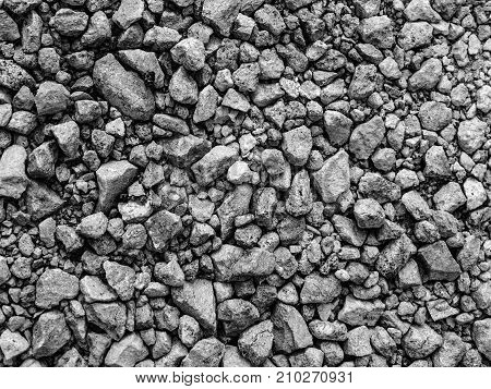 Gravel crushed stone isolated grey background texture
