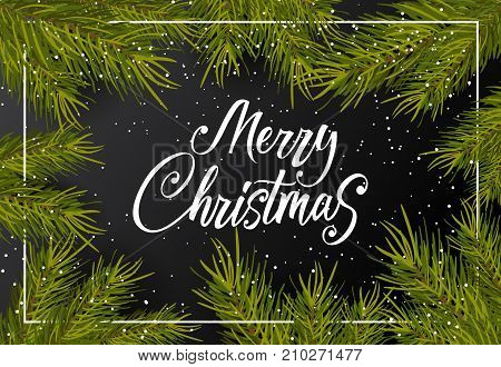 Merry Christmas lettering. Dark background with snow and twigs. Handwritten text, calligraphy. Can be used for greeting cards, posters and leaflets