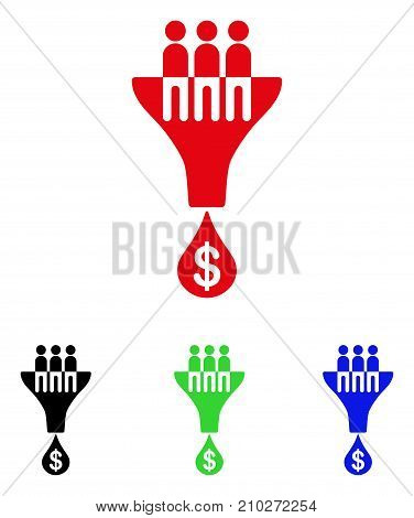 Sales Filter icon. Vector illustration style is a flat iconic sales filter symbol with black, red, green, blue color variants. Designed for web and software interfaces.