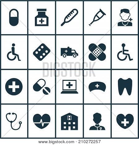 Antibiotic Icons Set. Collection Of Healer, Disabled, Physician And Other Elements