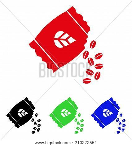 Sow Seed Pack icon. Vector illustration style is a flat iconic sow seed pack symbol with black, red, green, blue color versions. Designed for web and software interfaces.