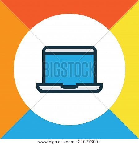 Premium Quality Isolated Notebook Element In Trendy Style.  Laptop Colorful Outline Symbol.