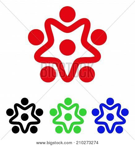 User Organization icon. Vector illustration style is a flat iconic user organization symbol with black, red, green, blue color versions. Designed for web and software interfaces.