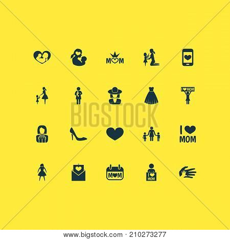 Mothers Day Icon Design Concept. Set Of 20 Such Elements As Letter, Cellphone And Missus