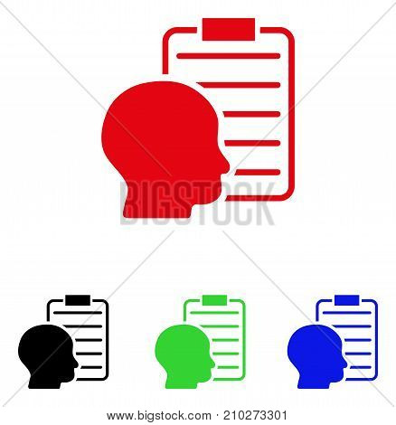 User Report Page icon. Vector illustration style is a flat iconic user report page symbol with black, red, green, blue color versions. Designed for web and software interfaces.