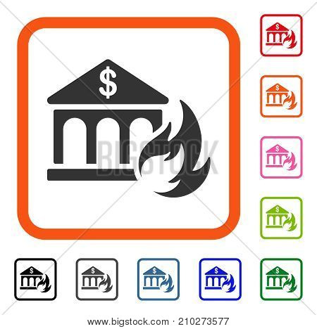 Bank Fire Disaster icon. Flat grey pictogram symbol in an orange rounded rectangular frame. Black, gray, green, blue, red, orange color variants of Bank Fire Disaster vector.
