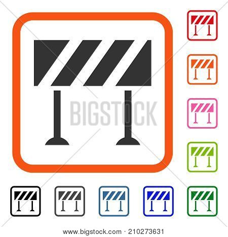 Barrier icon. Flat gray iconic symbol inside an orange rounded squared frame. Black, gray, green, blue, red, orange color versions of Barrier vector. Designed for web and software interfaces.