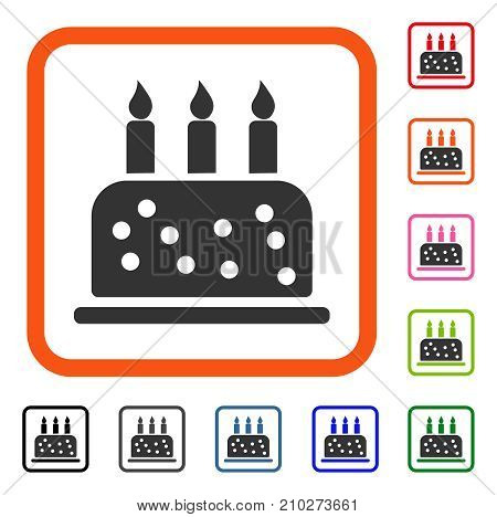 Birthday Cake icon. Flat grey pictogram symbol inside an orange rounded rectangle. Black, gray, green, blue, red, orange color additional versions of Birthday Cake vector.