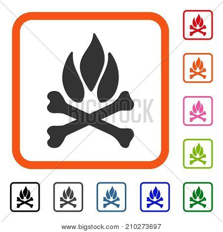 Bones Campfire icon. Flat grey pictogram symbol inside an orange rounded rectangle. Black, gray, green, blue, red, orange color versions of Bones Campfire vector.
