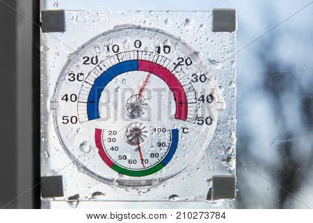 Hygrometer thermometer all in one behind window in rainy weather