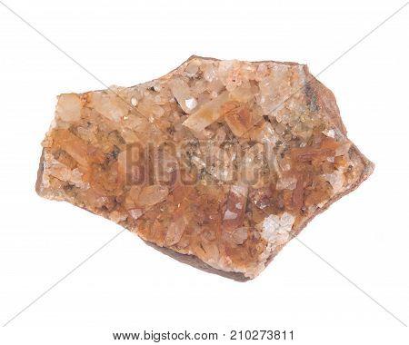 Golden Healer Cluster Quartz Specimen from Arkansas isolated on white background