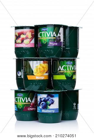 London, Uk - October 20, 2017: Packs Of Activia Yogurt Different Taste On White. Activia Is A Brand