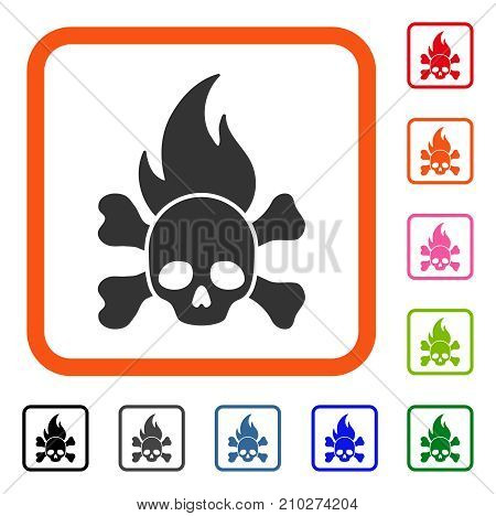Death Fire icon. Flat grey pictogram symbol in an orange rounded squared frame. Black, gray, green, blue, red, orange color versions of Death Fire vector. Designed for web and application interfaces.