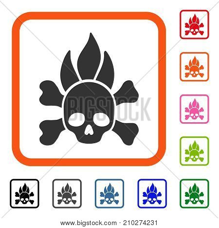 Death Fire icon. Flat gray pictogram symbol inside an orange rounded square. Black, gray, green, blue, red, orange color versions of Death Fire vector. Designed for web and application interfaces.