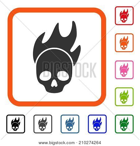 Death Fire icon. Flat gray pictogram symbol inside an orange rounded squared frame. Black, gray, green, blue, red, orange color versions of Death Fire vector.