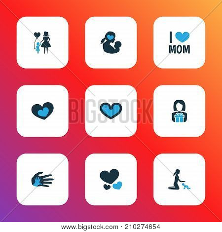 Mothers Day Colorful Icon Design Concept. Set Of 9 Such Elements As Soul, I Love Mom And Newborn Baby