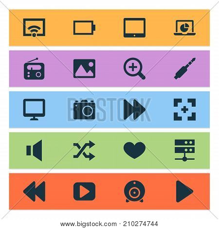 Media Icons Set. Collection Of Picture, Screen, Audio And Other Elements