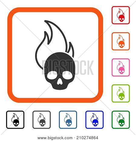Hell Fire icon. Flat grey pictogram symbol in an orange rounded frame. Black, gray, green, blue, red, orange color additional versions of Hell Fire vector. Designed for web and app UI.