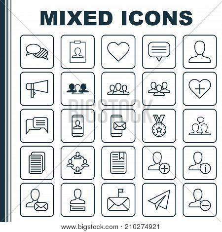 Communication Icons Set. Collection Of Team Organisation, Unity, Personal Data And Other Elements