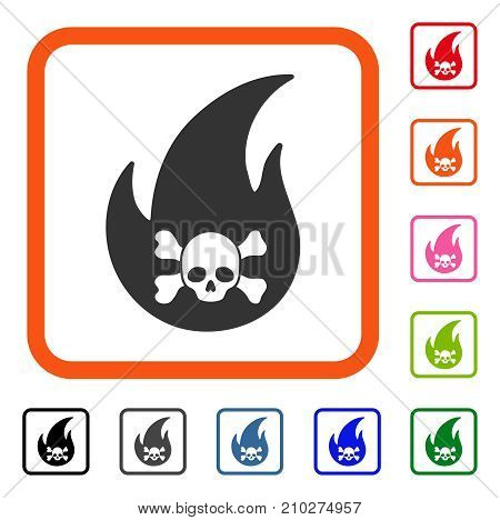 Hellfire icon. Flat grey iconic symbol in an orange rounded frame. Black, gray, green, blue, red, orange color versions of Hellfire vector. Designed for web and application user interface.