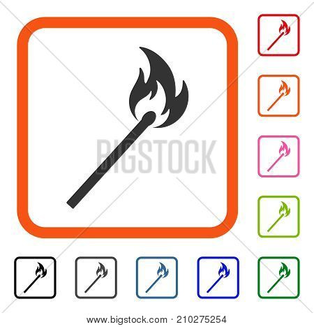 Match Fire icon. Flat grey iconic symbol in an orange rounded square. Black, gray, green, blue, red, orange color versions of Match Fire vector. Designed for web and app UI.