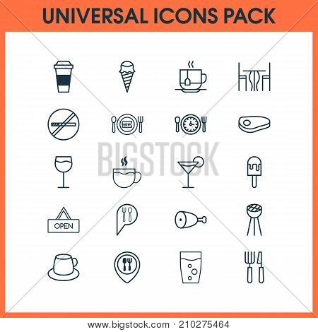 Cafe Icons Set. Collection Of Sorbet, Fried Poultry, Stop Smoke And Other Elements