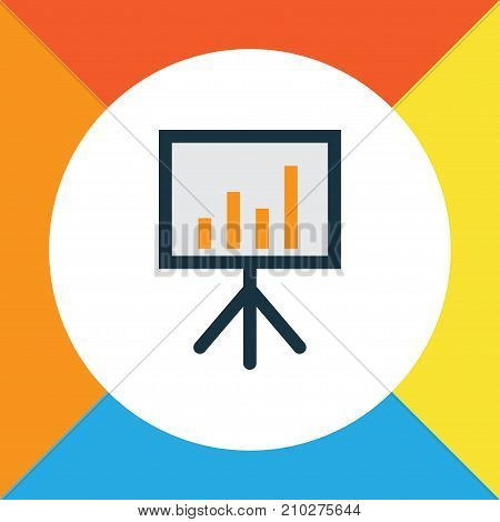 Premium Quality Isolated Billboard Presentation Element In Trendy Style.  Financial Data Colorful Outline Symbol.