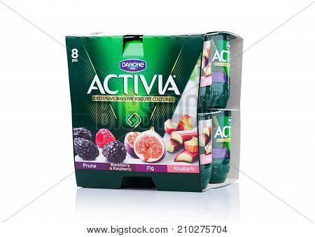 London, Uk - October 20, 2017: Pack Of Activia Yogurt On White . Activia Is A Brand Of Yogurt Owned