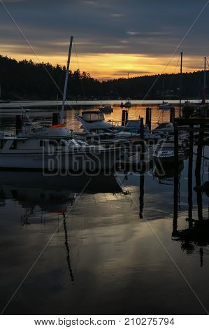 Early morning at the docks in Friday Harbor, Washington, San Juan Islands, with the golden sunrise and boats reflected in the dark harbor waters and the island silhouetted in the background, vertical photo.