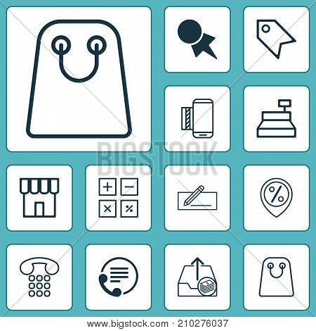 Ecommerce Icons Set. Collection Of Price Stamp, Calculation Tool, Discount Coupon And Other Elements