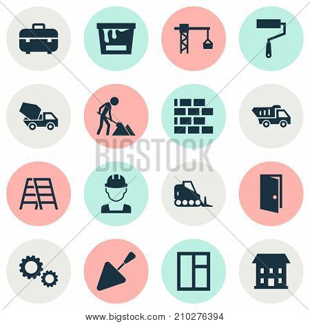 Architecture Icons Set. Collection Of Stair, Builder, Equipment And Other Elements