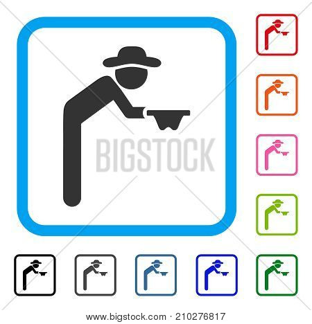Gentleman Beggar icon. Flat gray pictogram symbol in a light blue rounded rectangle. Black, gray, green, blue, red, orange color versions of Gentleman Beggar vector.
