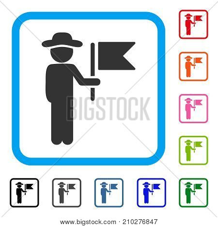 Gentleman Commander icon. Flat grey iconic symbol inside a light blue rounded square. Black, gray, green, blue, red, orange color additional versions of Gentleman Commander vector.