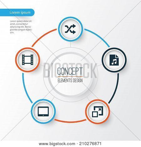 Media Icons Set. Collection Of Randomize, Maximize, Palmtop Elements