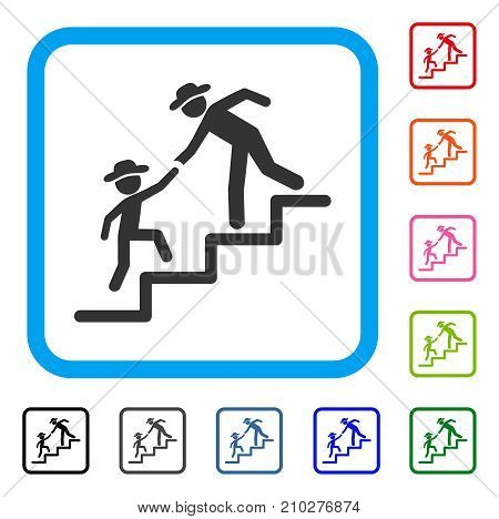 Gentleman Education Steps icon. Flat grey iconic symbol in a light blue rounded frame. Black, gray, green, blue, red, orange color versions of Gentleman Education Steps vector.
