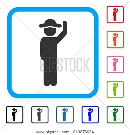 Gentleman Hello icon. Flat gray iconic symbol inside a light blue rounded frame. Black, gray, green, blue, red, orange color additional versions of Gentleman Hello vector.