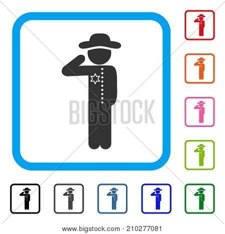 Gentleman Officer icon. Flat gray iconic symbol inside a light blue rounded frame. Black, gray, green, blue, red, orange color variants of Gentleman Officer vector.