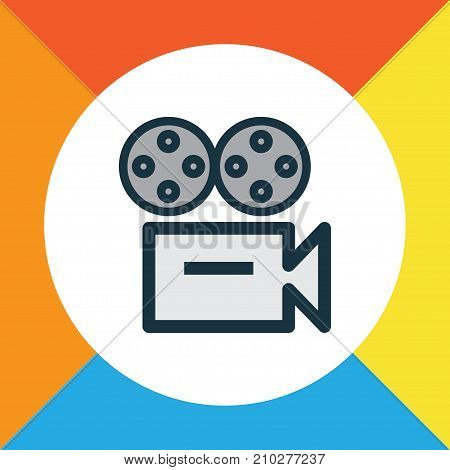 Premium Quality Isolated Video Element In Trendy Style.  Camera Colorful Outline Symbol.