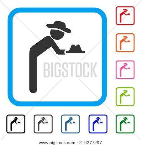 Gentleman Servant icon. Flat grey iconic symbol in a light blue rounded squared frame. Black, gray, green, blue, red, orange color versions of Gentleman Servant vector.