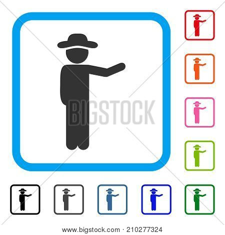 Gentleman Show icon. Flat gray pictogram symbol inside a light blue rounded rectangle. Black, gray, green, blue, red, orange color additional versions of Gentleman Show vector.