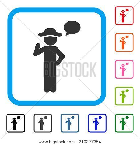 Gentleman Speech icon. Flat gray pictogram symbol in a light blue rounded squared frame. Black, gray, green, blue, red, orange color additional versions of Gentleman Speech vector.